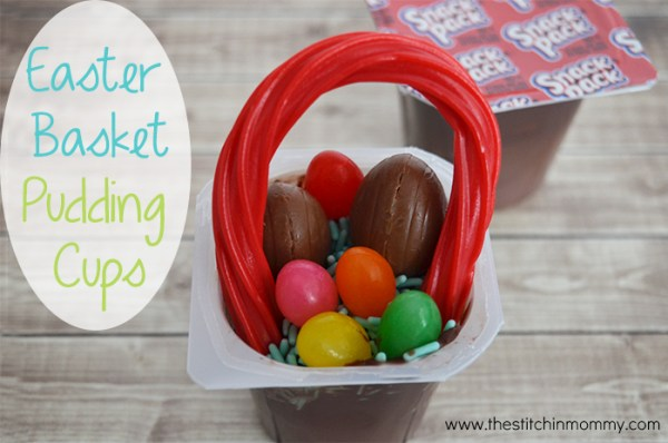 Celebrate Easter with Easter Basket Pudding Cups made with Super Snack Pack Pudding #ad #SnackPackMixins #CollectiveBias | www.thestitchinmommy.com