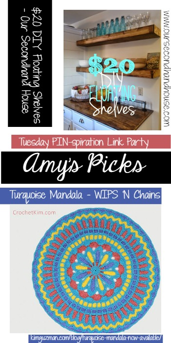 Amy's Picks | $20 DIY Floating Shelves/Turquiose Mandala| Tuesday PIN-spiration Link Party www.thestitchinmommy.com
