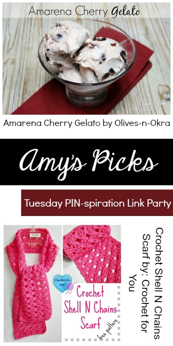 Amy's Picks   Amarena Cherry Gelato/Crochet Shell n Chains Scarf   Tuesday PIN-spiration Link Party www.thestitchinmommy.com