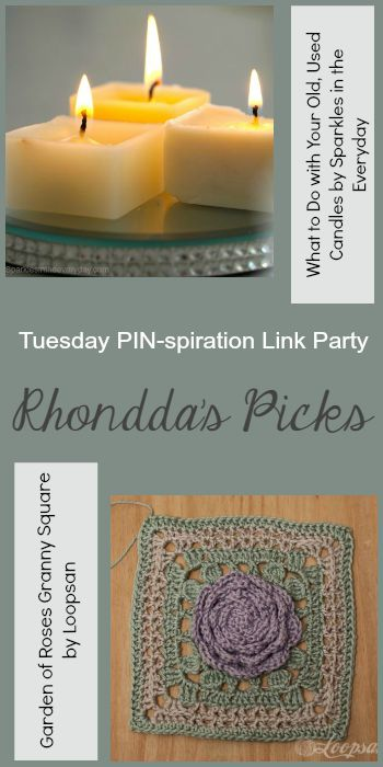 Rhondda's Picks |What to Do with Your Old, Used Candles/Garden of Roses Granny Square | Tuesday PIN-spiration Link Party www.thestitchinmommy.com