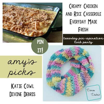 Amy's Picks | Creamy Chicken and Rice Casserole/Katie Cowl | Tuesday PIN-spiration Link Party www.thestitchinmommy.com