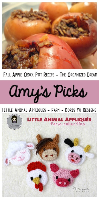Amy's Picks | Fall Apple Crockpot Recipe/Little Animal Appliques| Tuesday PIN-spiration Link Party www.thestitchinmommy.com