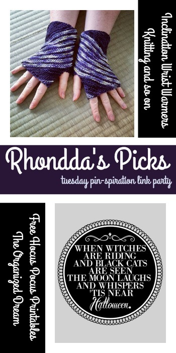 Rhondda's Picks | Inclination Wrist Warmers/Free Hocus Pocus Printables | Tuesday PIN-spiration Link Party www.thestitchinmommy.com