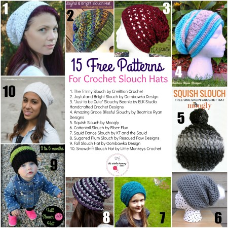 15 Free Patterns for Crochet Slouch Hats   www.thestitchinmommy.com
