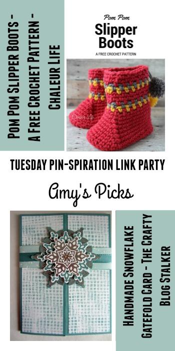 Amy's Picks | Pom Pom Slipper Boots/Handmade Snowflake Gatefold Card | Tuesday PIN-spiration Link Party www.thestitchinmommy.com