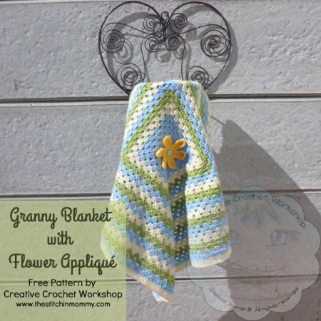 Granny Blanket with Flower Appliqué - Free Pattern by Creative Crochet Workshop for The Stitchin' Mommy | www.thestitchinmommy.com