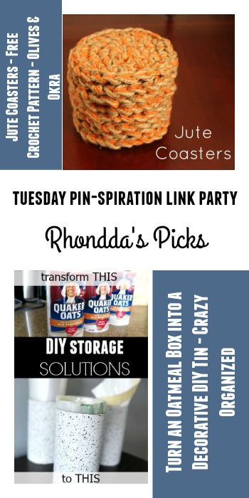Rhondda's Picks | Jute Coasters/Turn an Oatmeal Box into a Decorative Tin | Tuesday PIN-spiration Link Party www.thestitchinmommy.com