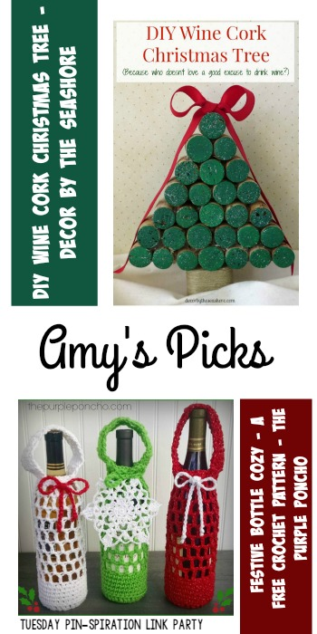 Amy's Picks | DIY Wine Cork Christmas Tree/Festive Bottle Cozy | Tuesday PIN-spiration Link Party www.thestitchinmommy.com