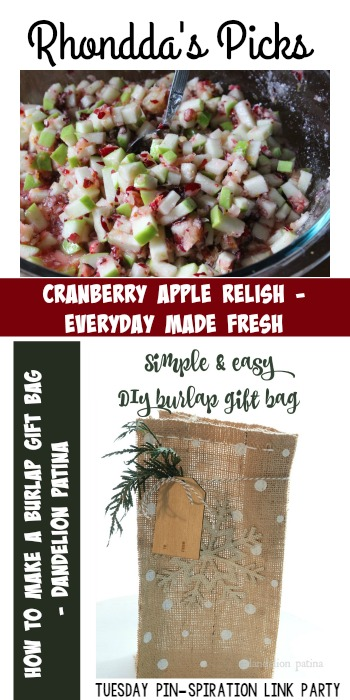 Rhondda's Picks | Cranberry Apple Relish/How to Make  A Burlap Gift Bag| Tuesday PIN-spiration Link Party www.thestitchinmommy.com