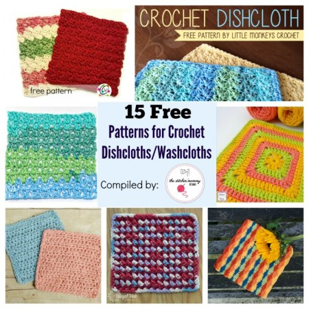 15 Free Patterns for Crochet Dishcloths/Washcloths (Plus Bonus Patterns!) compiled by The Stitchin' Mommy | www.thestitchinmommy.com