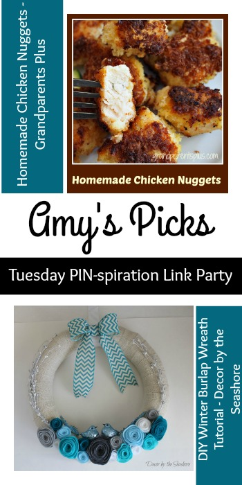 Amy's Picks | Homemade Chicken Nuggets/Winter Burlap Wreath| Tuesday PIN-spiration Link Party www.thestitchinmommy.com