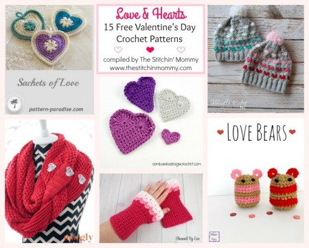 Love & Hearts! 15 Free Valentine's Day Crochet Patterns compiled by The Stitchin' Mommy   www.thestitchinmommy.com