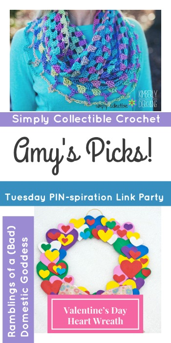 Amy's Picks | Lily's Sweetheart Crochet Cowl/Valentine's Day Heart Wreath| Tuesday PIN-spiration Link Party www.thestitchinmommy.com