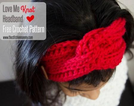 Love Me Knot Headband - Free Crochet Pattern #ValentinesDay | www.thestitchinmommy.com