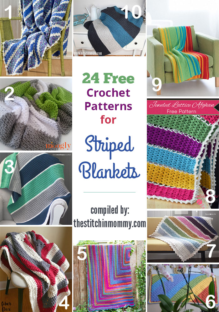 24 Free Crochet Patterns for Striped Blankets - The Stitchin Mommy