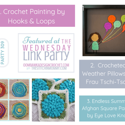 The Wednesday Link Party 309 featuring a Crochet Painting