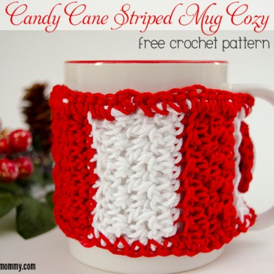 Candy Cane Striped Mug Cozy – Free Crochet Pattern