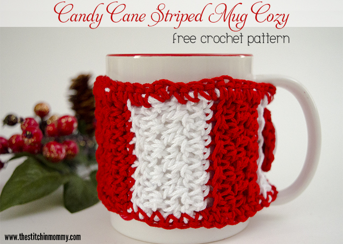 Candy Cane Striped Mug Cozy Free Crochet Pattern The Stitchin Mommy