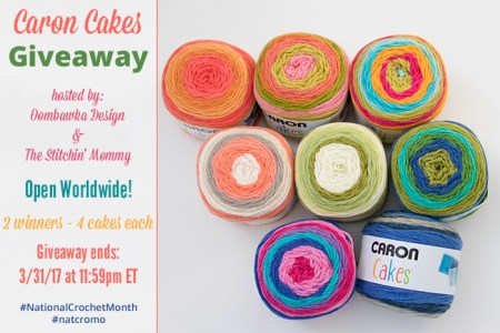 Caron Cakes Worldwide Giveaway hosted by Oombawka Design and The Stitchin' Mommy #NationalCrochetMonth #natcromo | www.thestitchinmommy.com