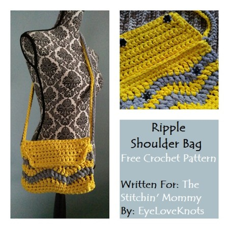 Ripple Shoulder Bag - Free Crochet Pattern by EyeLoveKnots for The Stitchin' Mommy | www.thestitchinmommy.com