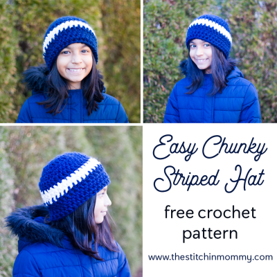 Easy Chunky Striped Hat – Free Crochet Pattern