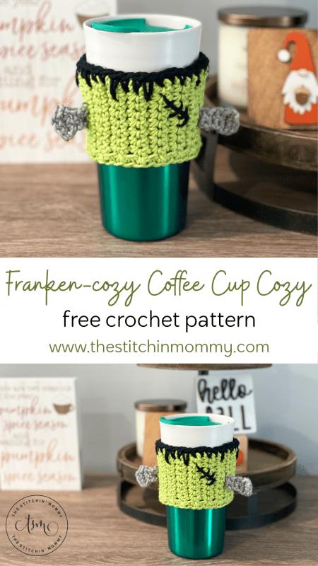 Franken-cozy Coffee Cup Cozy - Free Crochet Pattern   www.thestitchinmommy.com #thestitchinmommy #CALCentralCrochet