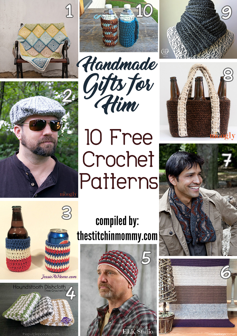 Handmade Gifts For Him - 10 Free Crochet Patterns - The Stitchin Mommy