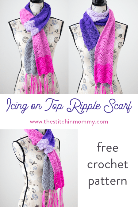 Icing on Top Ripple Scarf - Free Crochet Pattern | Scarf of the Month Club hosted by The Stitchin' Mommy and Oombawka Design | www.thestitchinmommy.com #ScarfoftheMonthClub2018