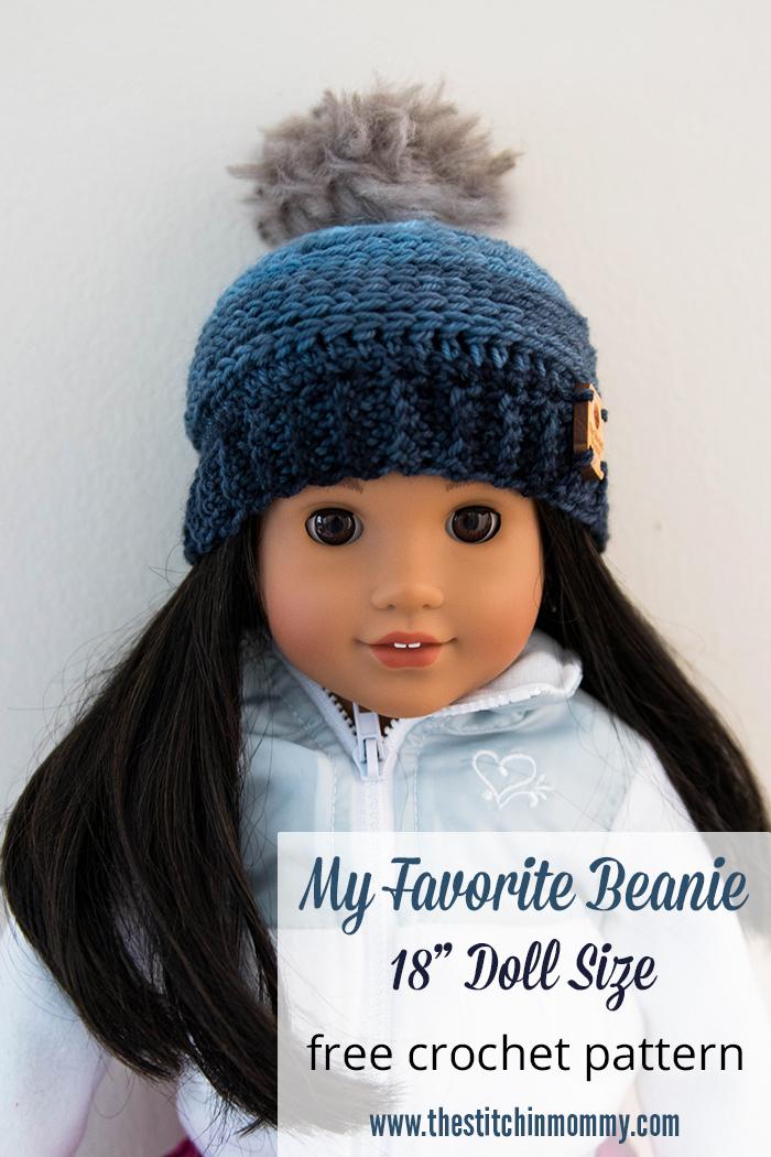 My Favorite Beanie 18 Inch Doll Hat Free Crochet