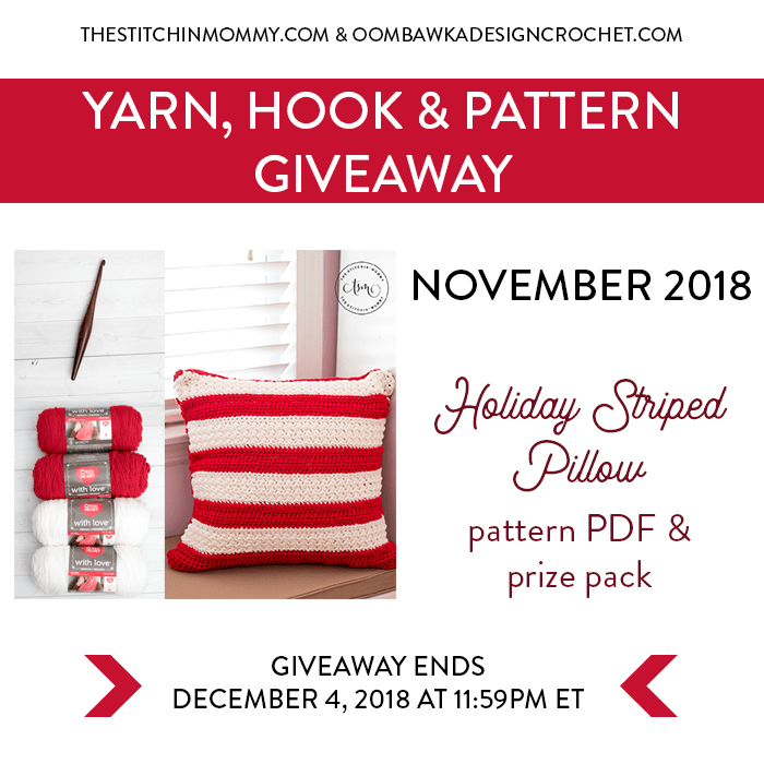 Yarn, Hook and Pattern Giveaway 4th Tuesday Each Month from The Stitchin' Mommy and Oombawka Design! | www.thestitchinmommy.com