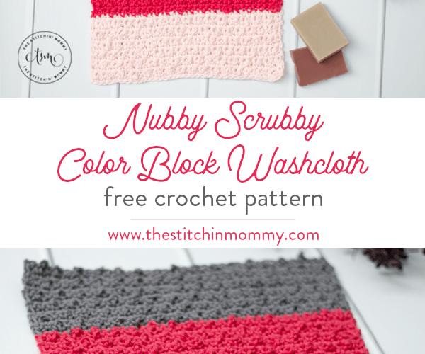 Nubby Scrubby Color Block Washcloth – Free Crochet Pattern
