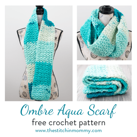Ombre Aqua Scarf - Free Crochet Pattern - Scarf of the Month Club hosted by The Stitchin' Mommy and Oombawka Design | www.thestitchinmommy.com #ScarfoftheMonthClub2018