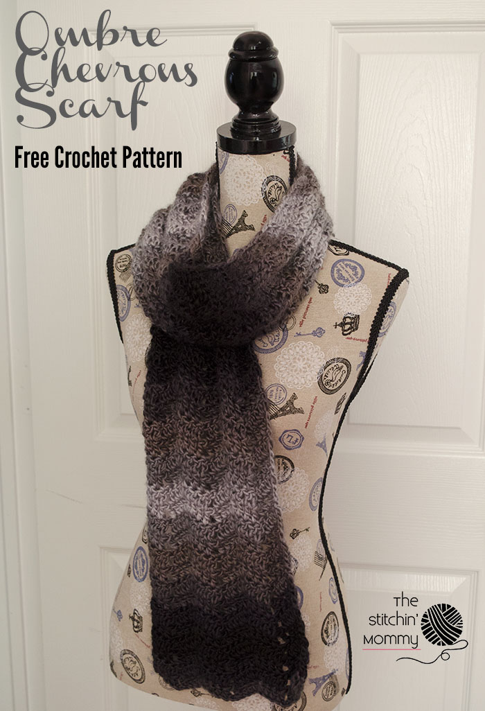 Ombre Chevrons Scarf - Free Crochet Pattern - Scarf of the Month Club hosted by The Stitchin' Mommy and Oombawka Design | www.thestitchinmommy.com