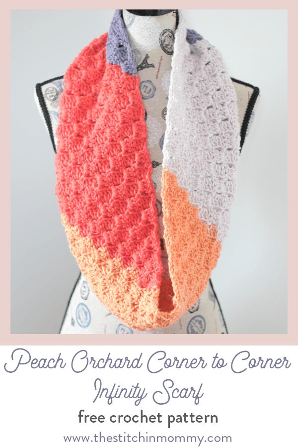 Peach Orchard Corner to Corner (C2C) Infinity Scarf - Free Crochet