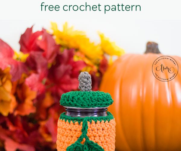 Pumpkin Mason Jar Cozy – Free Crochet Pattern