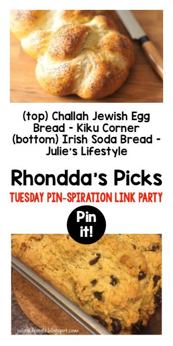 Rhondda's Picks   Challah Jewish Egg Bread/Irish Soda Bread  Tuesday PIN-spiration Link Party www.thestitchinmommy.com
