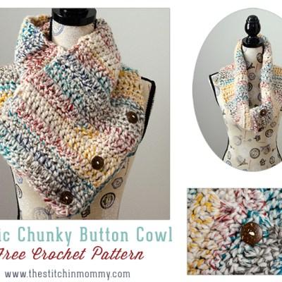 Rustic Chunky Button Cowl – Free Crochet Pattern