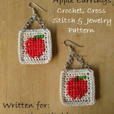 Cross Stitch Apple Earrings – Free Crochet, Cross Stitch, and Jewelry Pattern