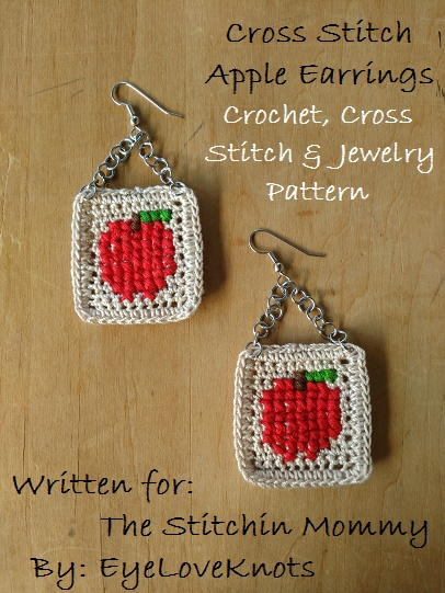 Cross Stitch Apple Earrings - Free Crochet, Cross Stitch, and Jewelry Pattern by EyeLoveKnots for The Stitchin' Mommy | www.thestitchinmommy.com