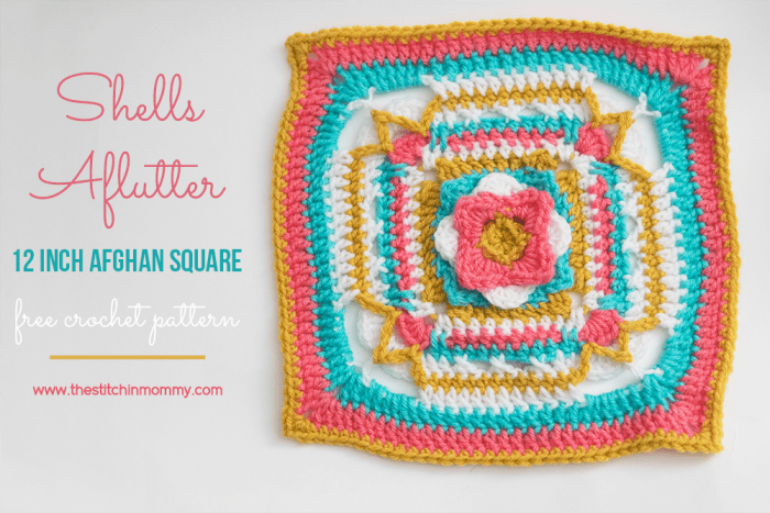 Shells Aflutter 12 Inch Afghan Square Free Crochet Pattern The
