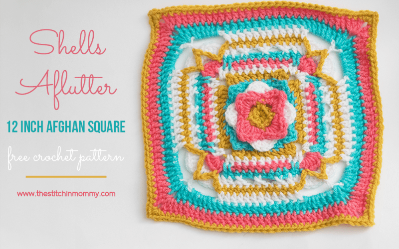 Shells Aflutter 12 Inch Afghan Square – Free Crochet Pattern