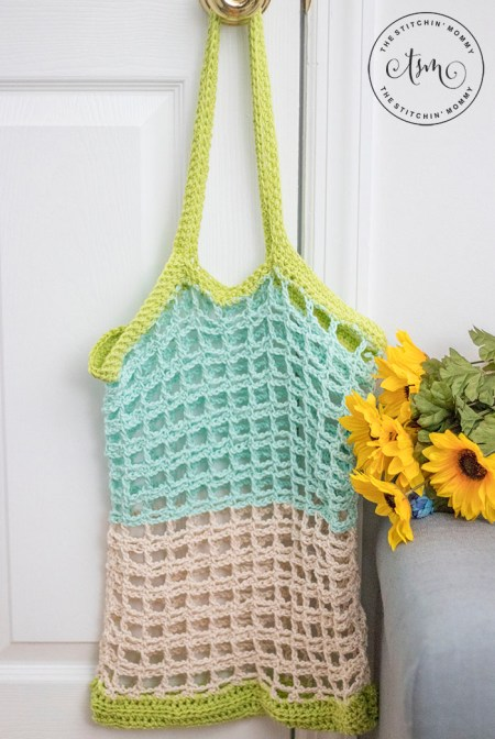 Simple Mesh Market Tote Free Crochet Pattern The Stitchin Mommy