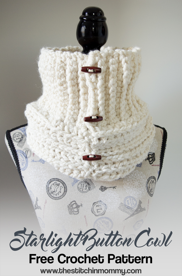Starlight Button Cowl Free Crochet Pattern The Stitchin Mommy