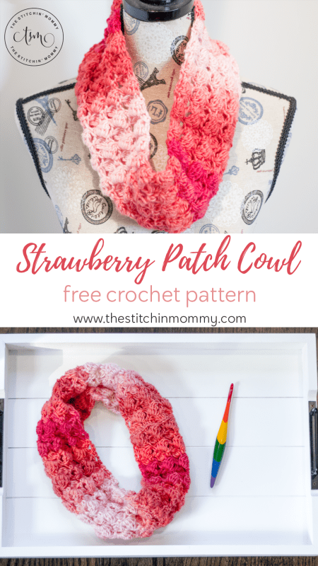 Strawberry Patch Cowl - Free Crochet Pattern #ScarfoftheMonth | www.thestitchinmommy.com