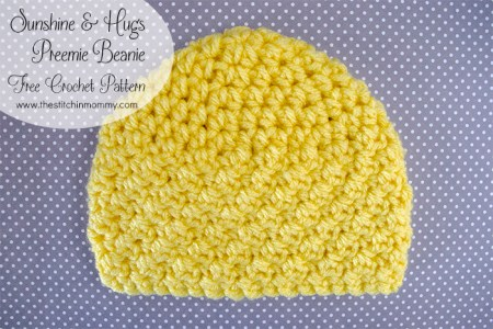 Sunshine and Hugs Preemie Beanie - Free Crochet Pattern | www.thestitchinmommy.com