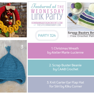 The Wednesday Link Party 324 featuring a Crochet Christmas Wreath
