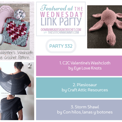 The Wednesday Link Party 332 featuring Crochet C2C Valentine's Washcloth