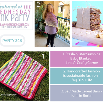 The Wednesday Link Party 348 featuring Stash-buster Sunshine Baby Blanket