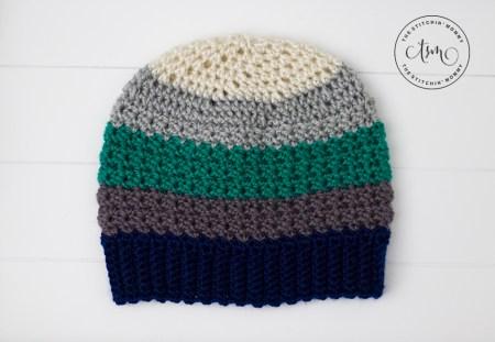 Tidal Ridge Hat - Free Crochet Pattern #HatoftheMonth | www.thestitchinmommy.com