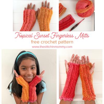 Tropical Sunset Fingerless Mitts – Free Crochet Pattern